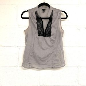Mossimo grey sleeveless blouse with black lace